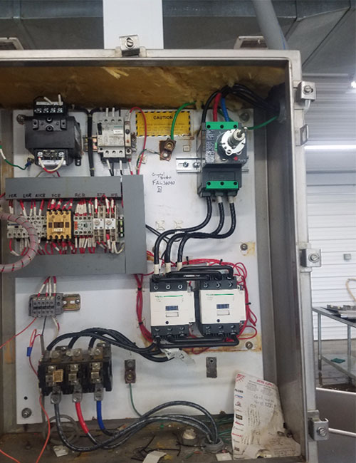 electrician panel with wires and circuit